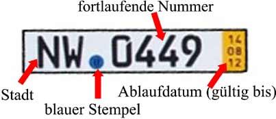 Kurzzeitkennzeichen / Überführungskennzeichen